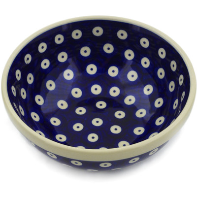 "Polish Pottery Bowl 6"" Peacock Eyes"