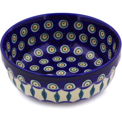 "Polish Pottery Bowl 6"" Peacock Leaves"