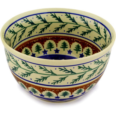 "Polish Pottery Bowl 6"" Pine Boughs"