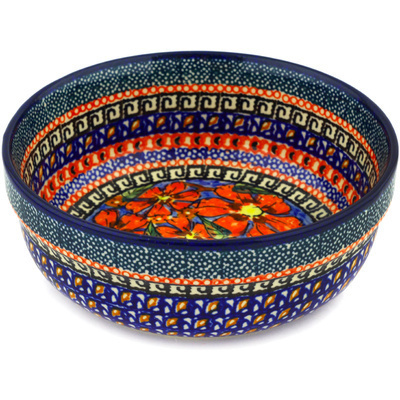 "Polish Pottery Bowl 6"" Poppies UNIKAT"