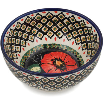 "Polish Pottery Bowl 6"" Poppy Passion UNIKAT"