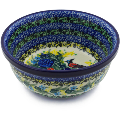 "Polish Pottery Bowl 6"" Red Breasted Bluejay UNIKAT"