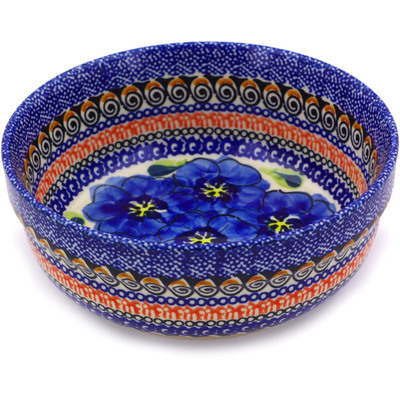 "Polish Pottery Bowl 6"" Regal Bouquet UNIKAT"