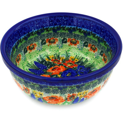 "Polish Pottery Bowl 6"" Splendid Meadow UNIKAT"