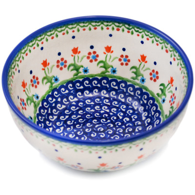 "Polish Pottery Bowl 6"" Spring Flowers"