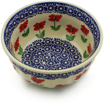 "Polish Pottery Bowl 6"" Wind-blown Poppies"