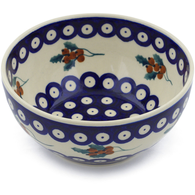 "Polish Pottery Bowl 6"" Yellow Holly Berries"