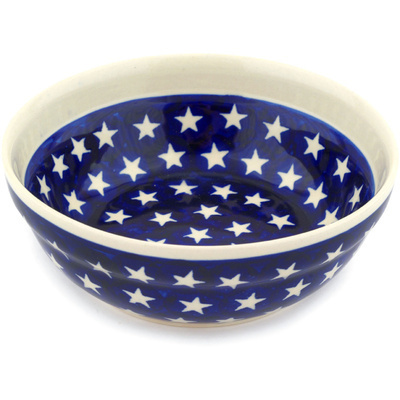 "Polish Pottery Bowl 7"" America The Beautiful"