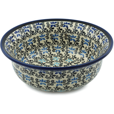 "Polish Pottery Bowl 7"" Black And Blue Lace"