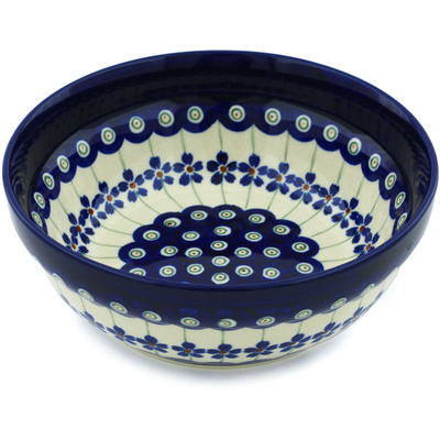 "Polish Pottery Bowl 7"" Flowering Peacock"