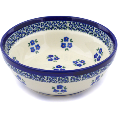 "Polish Pottery Bowl 7"" Forget Me Not Dots"