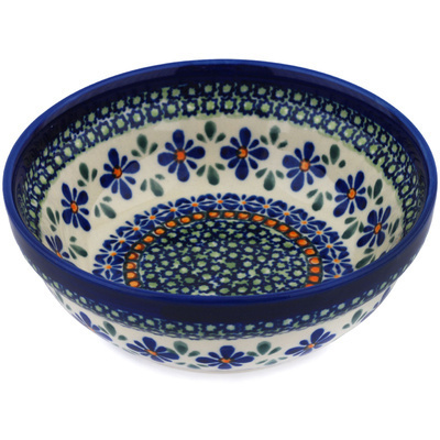 "Polish Pottery Bowl 7"" Gingham Flowers"