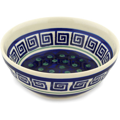 "Polish Pottery Bowl 7"" Greek Key"