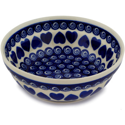 "Polish Pottery Bowl 7"" Heart Swirls"