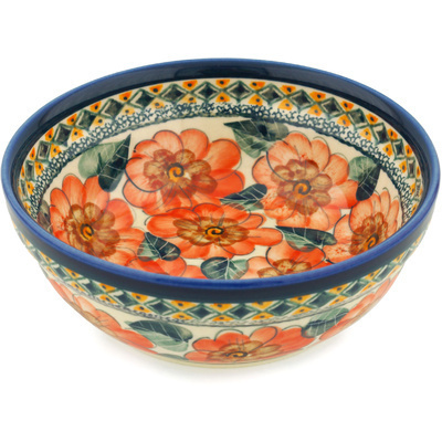 "Polish Pottery Bowl 7"" Peach Poppies UNIKAT"