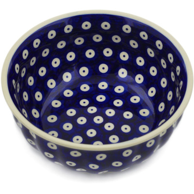 "Polish Pottery Bowl 7"" Peacock Eyes"