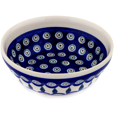 "Polish Pottery Bowl 7"" Peacock Leaves"