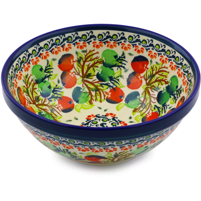 "Polish Pottery Bowl 7"" Red And Green Berries"