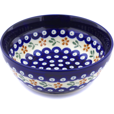 "Polish Pottery Bowl 7"" Red Daisy Peacock"