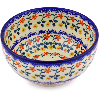 "Polish Pottery Bowl 7"" Red Sunflower"