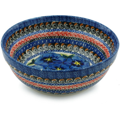 "Polish Pottery Bowl 7"" Regal Bouquet UNIKAT"