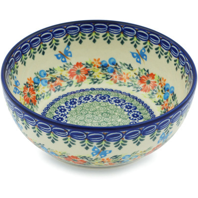 "Polish Pottery Bowl 7"" Ring Of Flowers UNIKAT"