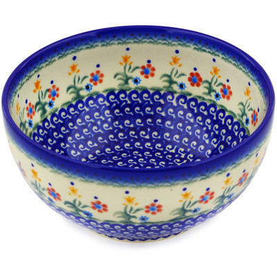 "Polish Pottery Bowl 7"" Spring Flowers"