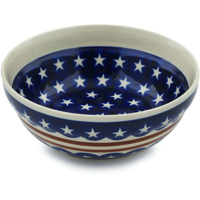 "Polish Pottery Bowl 7"" Stars And Stripes Foreve"