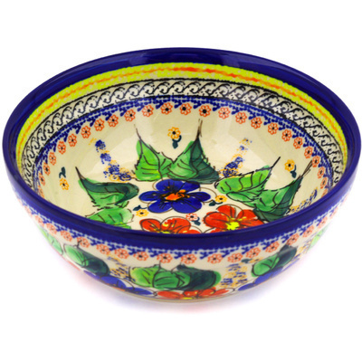 "Polish Pottery Bowl 7"" Summer Sleandor UNIKAT"