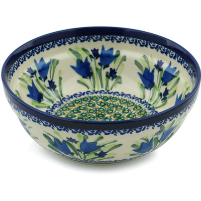 "Polish Pottery Bowl 7"" Tulip Fields UNIKAT"