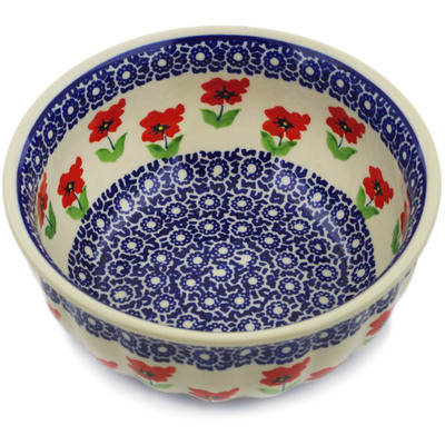 "Polish Pottery Bowl 7"" Wind-blown Poppies"