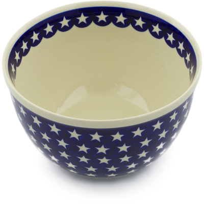 "Polish Pottery Bowl 8"" America The Beautiful"