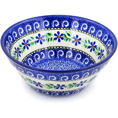 "Polish Pottery Bowl 8"" Blue Daisy Swirls"