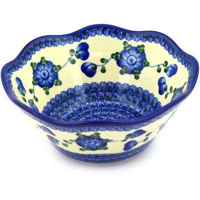 "Polish Pottery Bowl 8"" Blue Poppies"