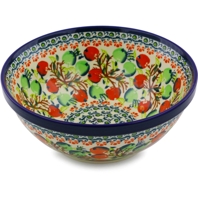 "Polish Pottery Bowl 8"" Red And Green Berries"