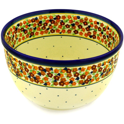 "Polish Pottery Bowl 8"" Russett Floral"