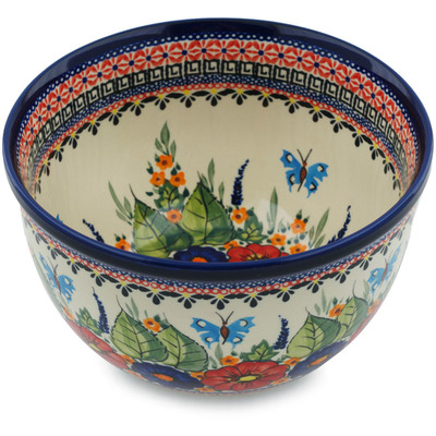 "Polish Pottery Bowl 8"" Spring Splendor UNIKAT"