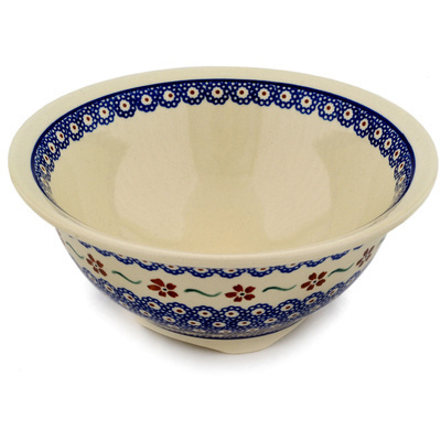 "Polish Pottery Bowl 8"" Sweet Red Flower"