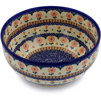 "Polish Pottery Bowl 9"" Amarillo"