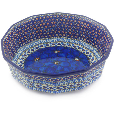 "Polish Pottery Bowl 9"" Cobalt Poppies UNIKAT"