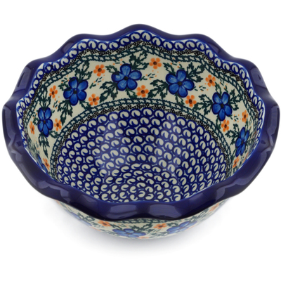"Polish Pottery Bowl 9"" Cobblestone Garden"