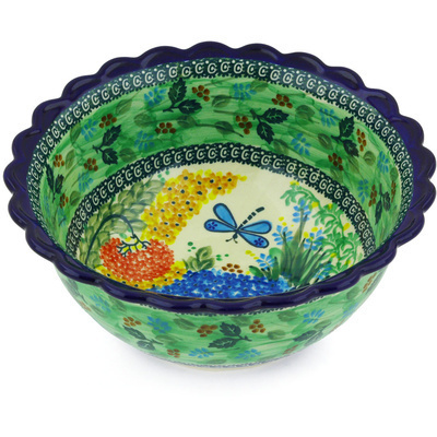 "Polish Pottery Bowl 9"" Garden Delight UNIKAT"