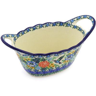 "Polish Pottery Bowl 9"" Hummingbird Meadow UNIKAT"