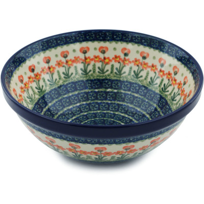 "Polish Pottery Bowl 9"" Peach Spring Daisy"
