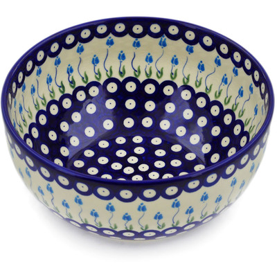 "Polish Pottery Bowl 9"" Peacock Tulip Garden"