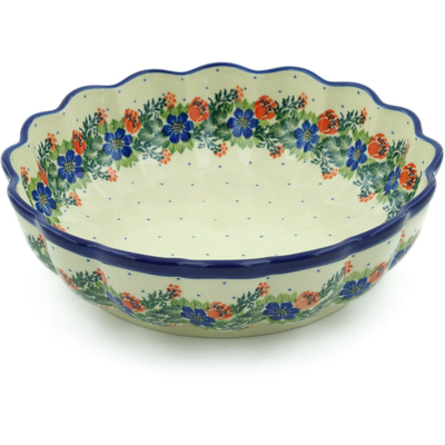 "Polish Pottery Bowl 9"" Polish Wreath"