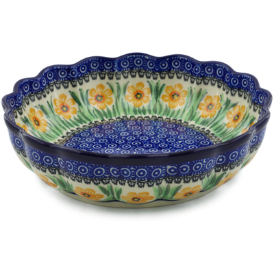 "Polish Pottery Bowl 9"" Yellow Daffodil Field UNIKAT"