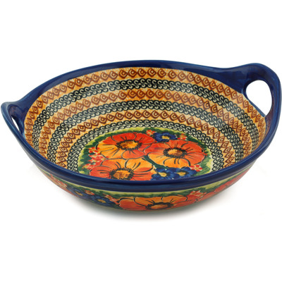 "Polish Pottery Bowl with Handles 10"" Bright Beauty UNIKAT"