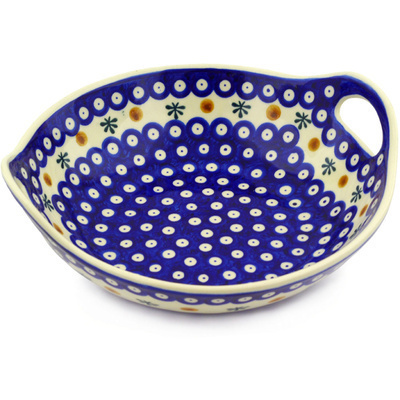 "Polish Pottery Bowl with Handles 10"" Mosquito"