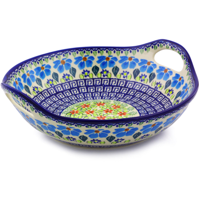 "Polish Pottery Bowl with Handles 10"" Pansy Morning"